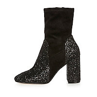Black glitter heel ankle boots