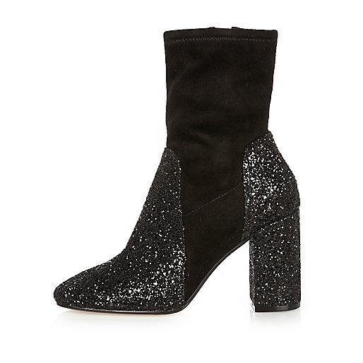 Black glitter heel ankle boots