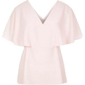 Light pink cape back V-neck t-shirt
