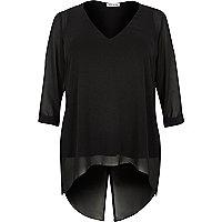 RI Plus black chiffon tunic top