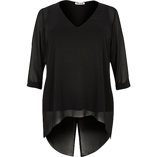 RI Plus – Schwarze Tunika aus Chiffon