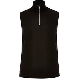 Black zipped high neck
