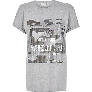 Grey foil print longline t-shirt