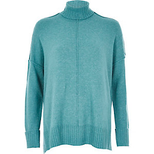 Bright blue seam detail boxy sweater