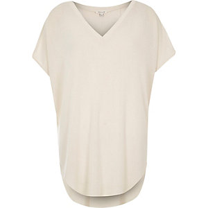 Cream V-neck top