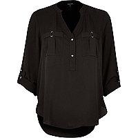 Black placket blouse