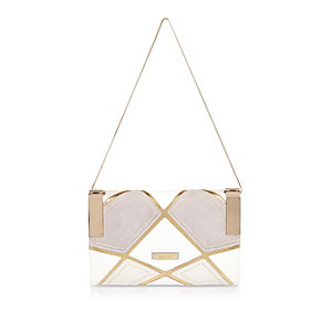 White patchwork clutch