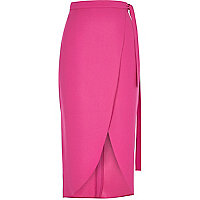 Pink wrap midi skirt