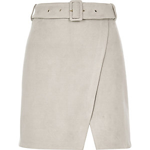Grey faux suede buckle skirt