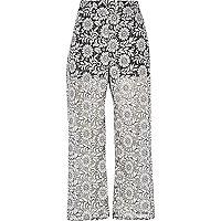 Black print lace pants
