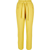 Yellow soft tie waist tapered pants