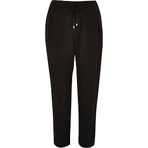 Black cord tie soft trousers