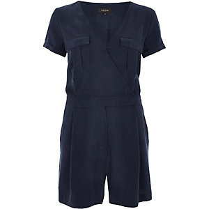 Dark blue wrap playsuit