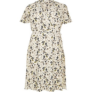 RI Plus cream floral print frill dress