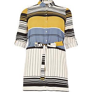 RI Plus cream stripe print shirt dress
