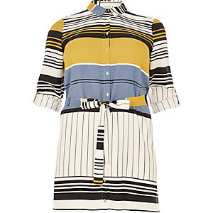 RI Plus cream stripe print shirt dress