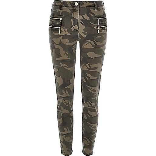 Green camo zipped skinny trousers