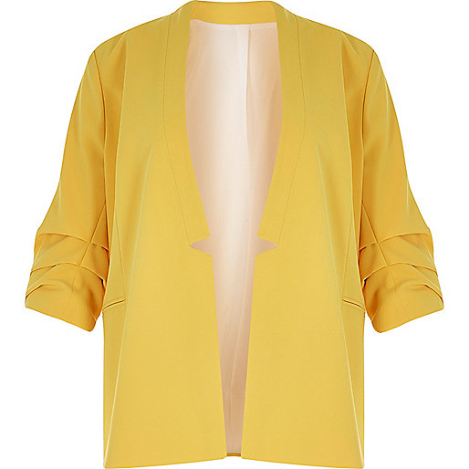 RI Plus yellow ruched sleeve blazer