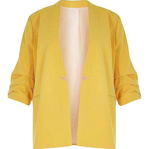 RI Plus yellow ruched sleeve blazer