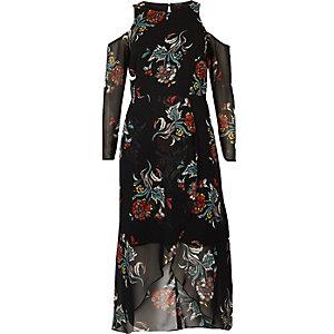 Black floral print cold shoulder midi dress