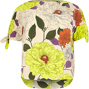 RI Plus cream floral print top