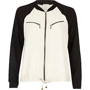 Cream colour block shacket