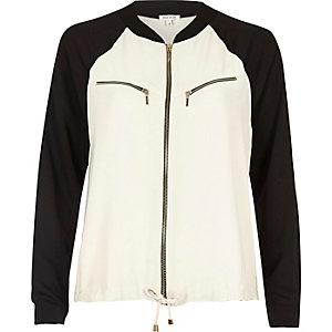 Veste-chemise color block crème