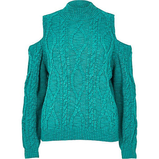 Bright green cold shoulder cable knit sweater