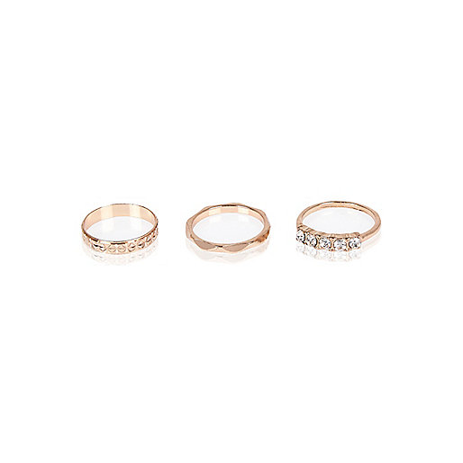 Rose gold tone layered rings pack