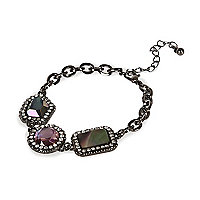 Pink pave stone chain bracelet