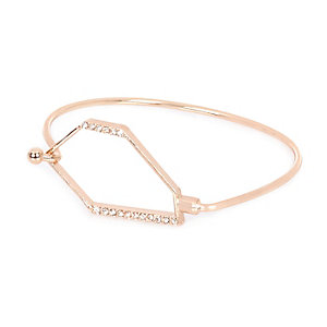 Rose gold diamanté hexagon cuff bracelet
