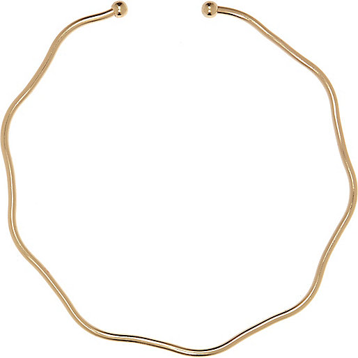 Gold tone jagged choker necklace