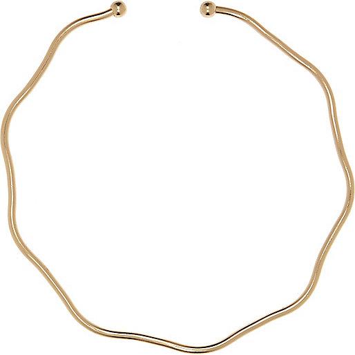 Gold tone jagged choker necklace