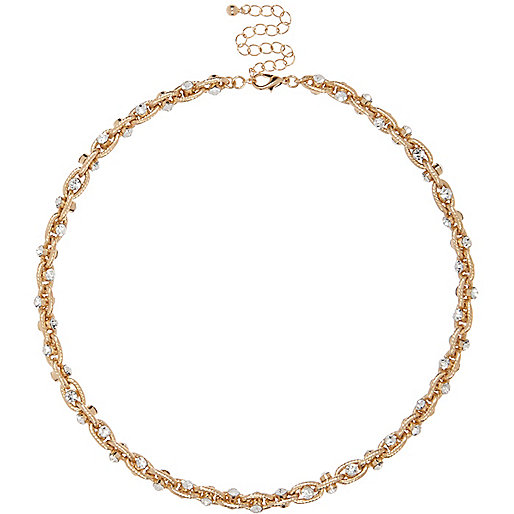 Gold tone twisted chain necklace
