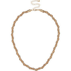 Gold tone faceted chain necklace