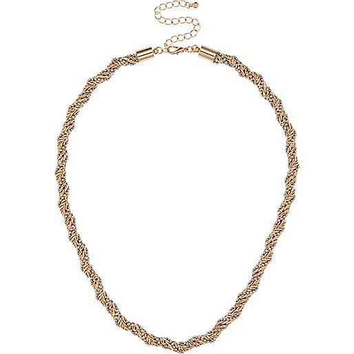 Collier chaîne dorée à facettes