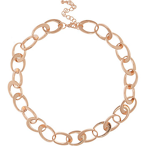 Rose gold tone interlinking chain necklace