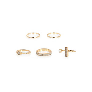 Gold tone gem encrusted rings pack