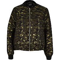 Khaki glam camo bomber jacket