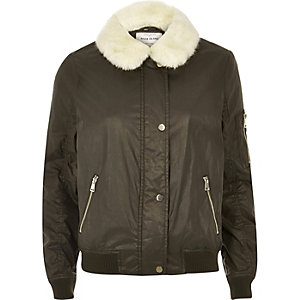 Khaki wax bomber jacket