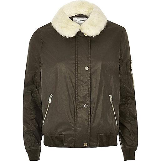 Khaki wax bomber jacket