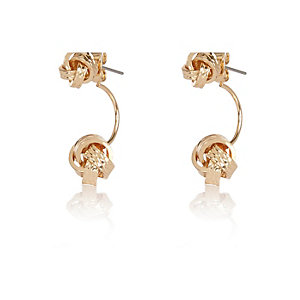 Gold tone knot drop earrings