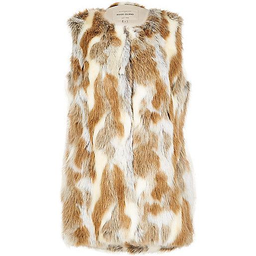 Light brown patchwork faux fur vest