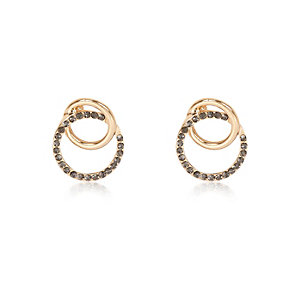 Gold tone interlinked stud earrings