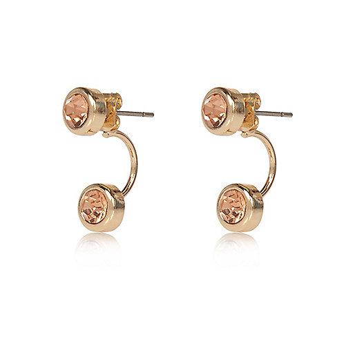 Pendants d'oreilles dorés incrustés de pierres fantaisie