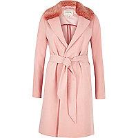 Pink faux fur collar robe coat