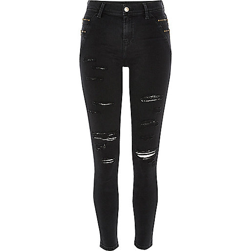Black ripped Amelie reform jeggings