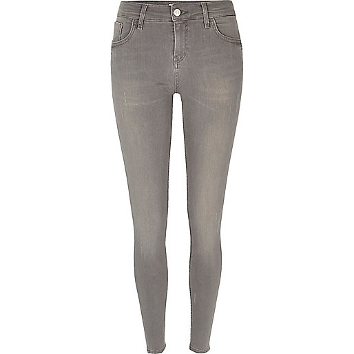 Amelie – Hellgraue Super Skinny Jeans
