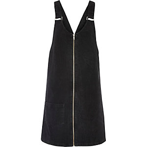 Black washed denim pinafore dress