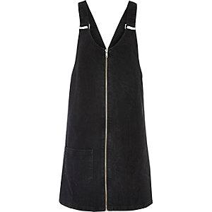 Black washed denim pinafore dress